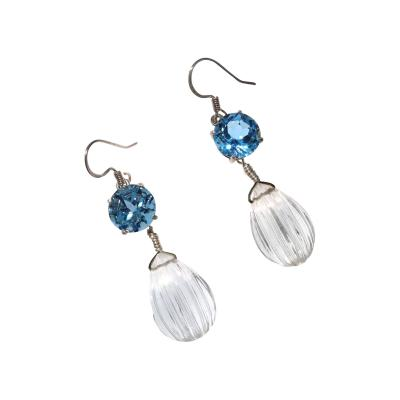 Gemjunky Bright Blue Topaz Earrings