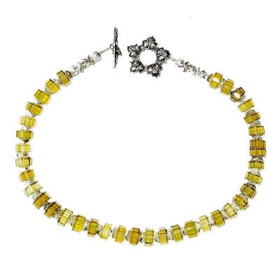 Gemjunky Choker Necklace of Fancy Citrine Rondelles with Sterling Silver Clasp