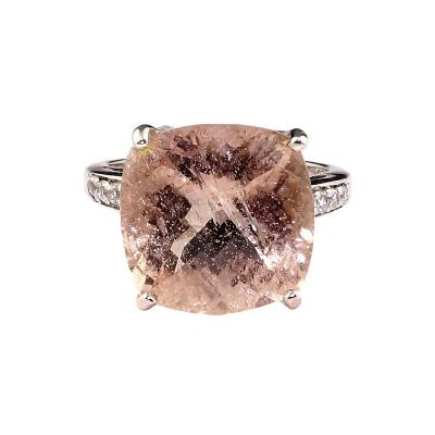 Gemjunky Cushion Cut Morganite in Sterling Silver Ring