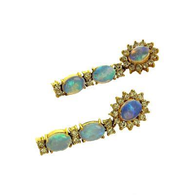 Gemjunky Dangle Opal and Diamond 18K Yellow Gold Earrings