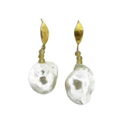 Gemjunky Dangle White Baroque Pearl Earrings with Yellow Gold
