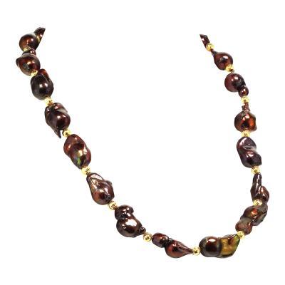 Gemjunky Deep Brown Iridescent Baroque Pearl Necklace