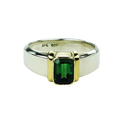 Gemjunky Deep Green Tourmaline in Sterling Silver Ring