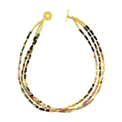 Gemjunky Delicate Three Strands of Tourmaline Necklace Accented with Gold