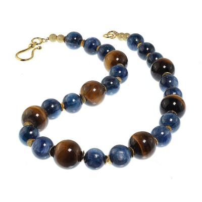 Gemjunky Distinctive Necklace of Natural Tigers Eye and Blue Kyanite