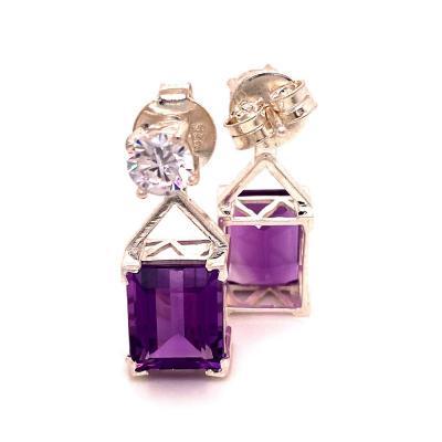 Gemjunky Earrings of Sparkling Zircons and Purple Amethysts