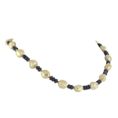 Gemjunky Elegant Blue Sapphire and Lustrous White Pearl Necklace