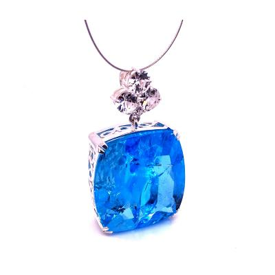 Gemjunky Elegant Evening Pendant in Blue Topaz and Cambodian Zircon
