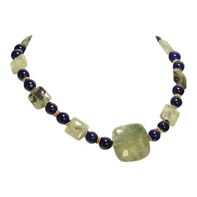 Gemjunky Elegant Green Prehnite and Blue Agate Choker Necklace