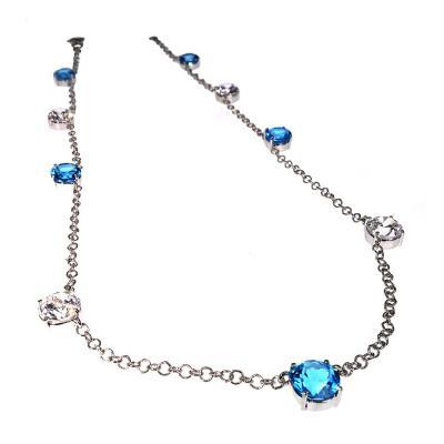 Gemjunky Elegant necklace of Blue Topaz and White Cambodian Zircon gemstones