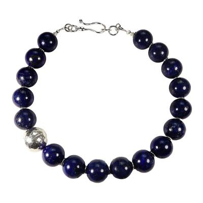 Gemjunky Elegantly Stunning Lapis Lazuli Collar with Pure Silver Focal