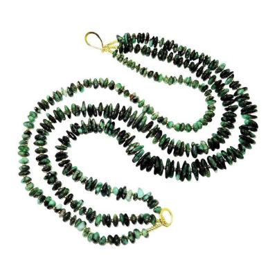 Gemjunky Emerald Polished Chip Three Strand Necklace