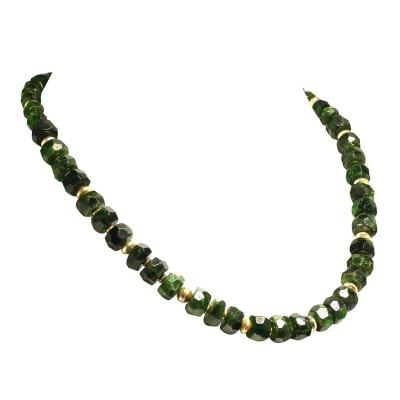 Gemjunky Faceted Rondelles of green Chrome Diopside Necklace