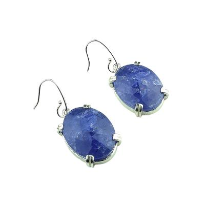 Gemjunky Faceted Tanzanite Tablets in Sterling Silver Earrings