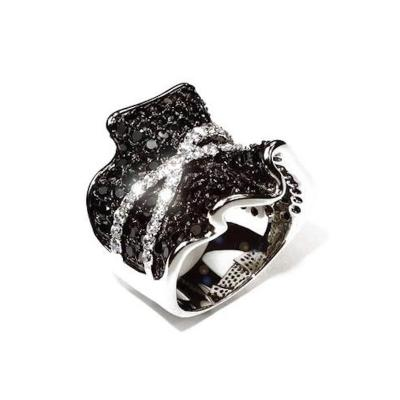 Gemjunky Faux Sparkly Black and White Dinner Ring