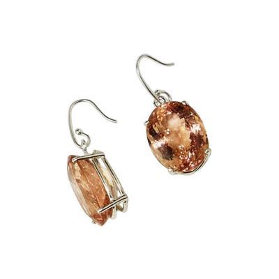 Gemjunky Flashing Oval Morganite Earrings in Sterling Silver
