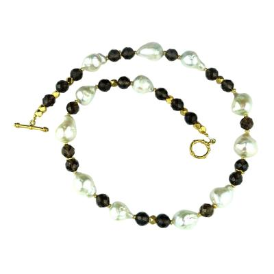 Gemjunky Freshwater Pearl and Smoky Quartz Necklace