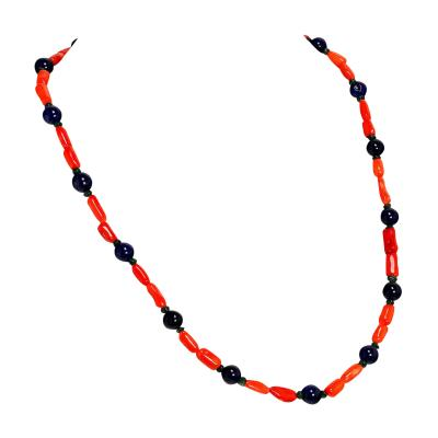 Gemjunky Fun and funky Orange Coral Jade and Aventurine Necklace