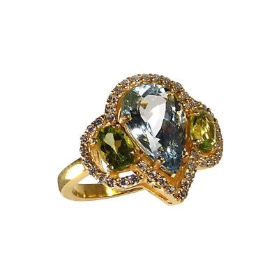 Gemjunky Glittering Dinner Ring of Aquamarine Peridot and Cambodian Zircon