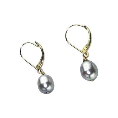 Gemjunky Gray Pearl in Yellow Gold Lever Back Earrings