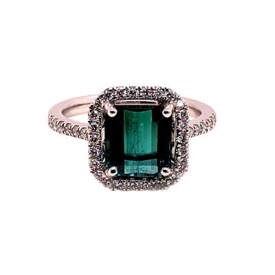 Gemjunky Green Tourmaline and Diamond Dinner Ring