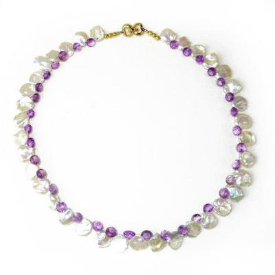 Gemjunky Iridescent White Keshi Pearl and Amethyst Briolette Necklace