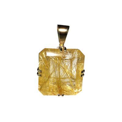 Gemjunky Magnificent Rutilated Quartz in Yellow Gold Pendant