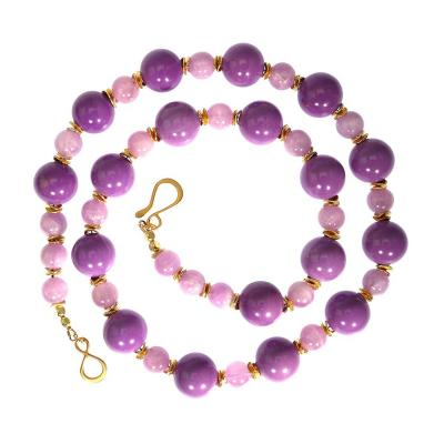 Gemjunky Necklace of Mauve Phosphosiderite and Kunzite Beads with Gold Accents