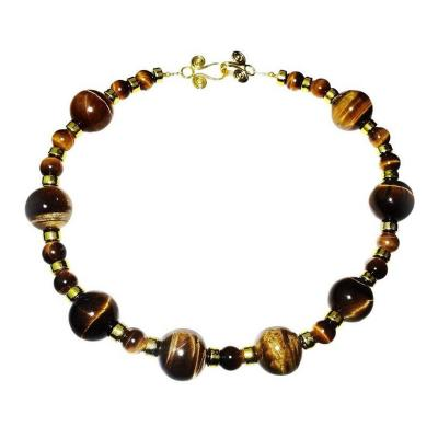 Gemjunky Necklace of Two Sizes of Chatoyant Tiger s Eye