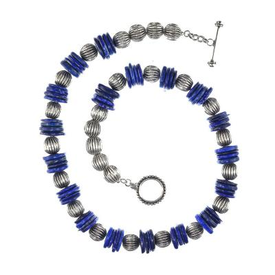 Gemjunky Norris Elegant 26 Inch necklace of Blue Lapis Lazuli slices with ribbed silver accents