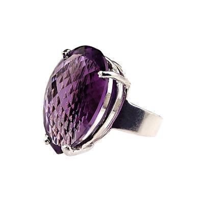 Gemjunky Norris Gemjunky 27 Carat Pear Shape Amethyst and Sterling Silver Ring