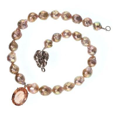 Gemjunky Norris Gemjunky Huge Gorgeous Peach Morganite Pendant on Baroque Pearl Necklace