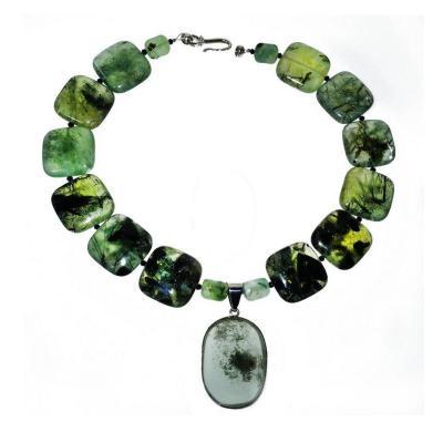 Gemjunky Norris Gemjunky Statement Green Prehnite Necklace with Lodalite Pendant