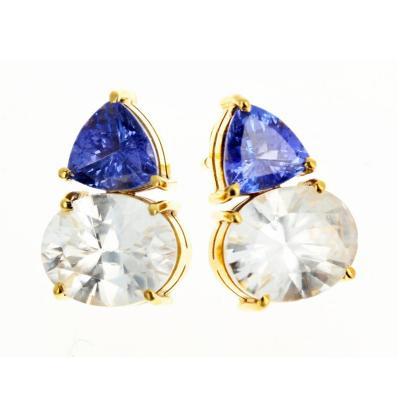 Gemjunky Norris Glittering Tanzanite and White Zircon 18 KT Gold Stud Earrings