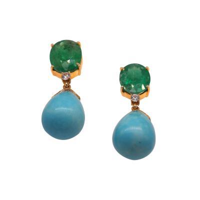 Gemjunky Norris Unique Gemjunky Earrings of Sleeping Beauty Turquoise Teardrops and Emeralds
