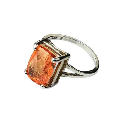 Gemjunky Peach color Imperial Topaz set in Sterling Silver Ring