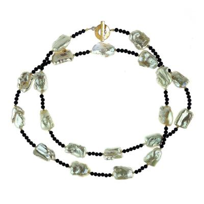 Gemjunky Pearl and Black Agate Long Necklace