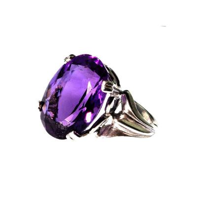 Gemjunky Perfect Oval Amethyst in Sterling Silver Ring February Birthstone