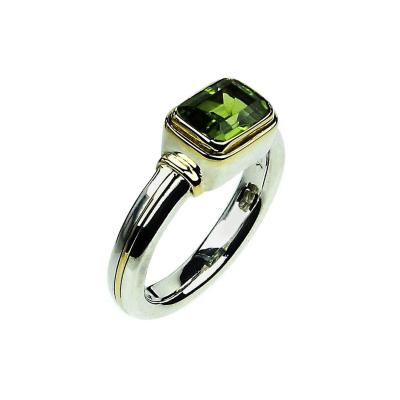 Gemjunky Peridot and Sterling Silver Ring with 18K Gold Accents