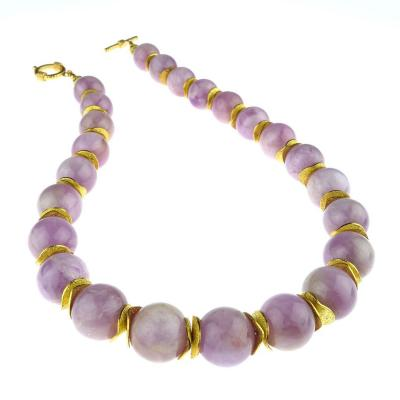 Gemjunky Pink Kunzite with Goldy Accents Necklace