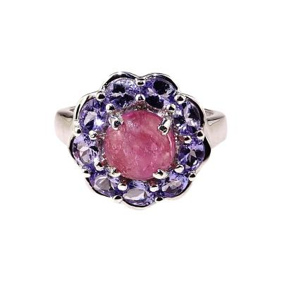 Gemjunky Pink Tourmaline Cabochon in Tanzanite Halo Sterling Silver Ring