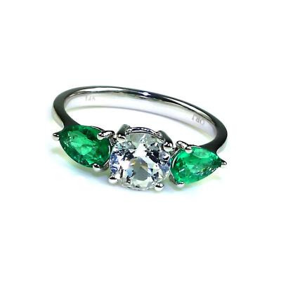 Gemjunky Silver Topaz and Emerald Cocktail Ring