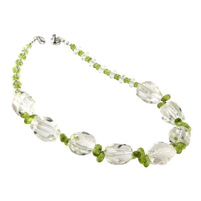 Gemjunky Sparkling Clear Quartz Crystal and Green Peridot Choker Necklace
