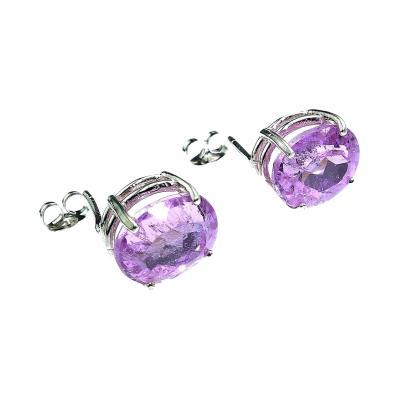 Gemjunky Sparkling Oval Kunzite Sterling Silver Stud Earrings