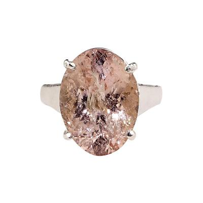 Gemjunky Sparkling Oval Morganite set in Sterling Silver Ring