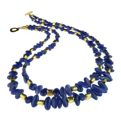 Gemjunky Sparkling Tanzanite Double Strand Necklace