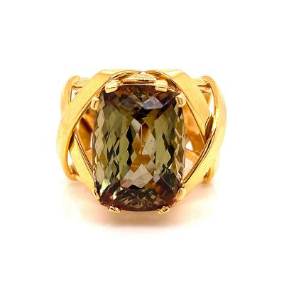 Gemjunky Statement Ring of Andalusite and 18K Yellow Gold
