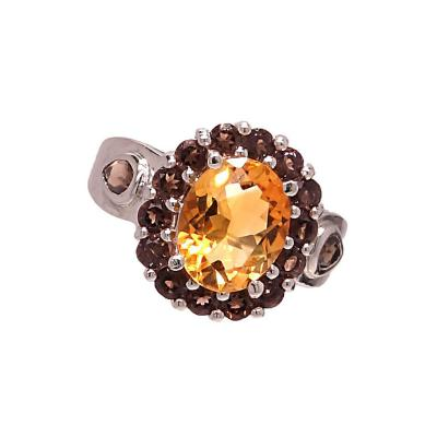 Gemjunky Striking Citrine and Smoky Quartz in Sterling Silver Ring
