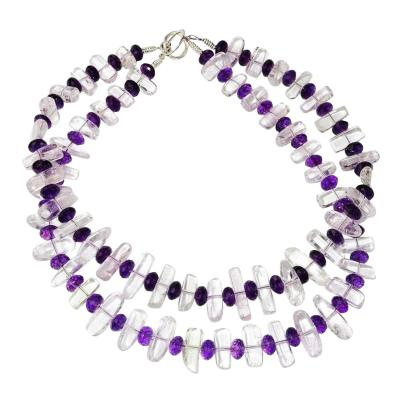 Gemjunky Striking Double Strand Necklace of Transparent Kunzite and Amethyst