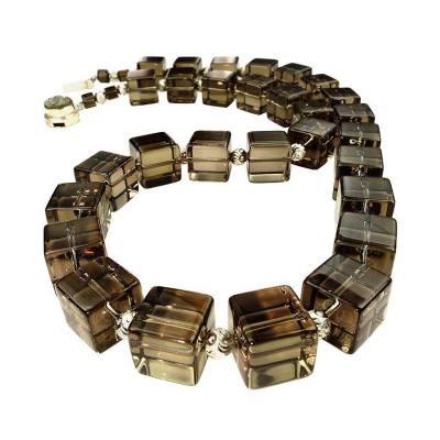Gemjunky Stunning Smoky Quartz Cube Necklace